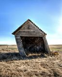 The leaning shed in eastern Washington. Royalty Free Stock Images