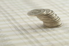 Leaning stack of Polish coins Royalty Free Stock Photography