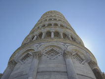 Leaning tower from below, Pisa, Italy royalty free stock photography