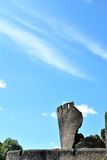 The leaning tower of Caerphilly castle in Wales Stock Image