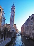 The Leaning Tower of The Campanile of San Giorgio dei Greci in Venice, Italy. The Campanile of San Giorgio dei Greci leans over a canal in Venice, Italy. One of Royalty Free Stock Photos