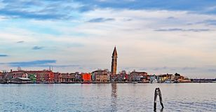 The leaning tower of the Campanile of San Martino church on the island of Burano, Venice. Italy Royalty Free Stock Photos