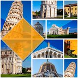 Collage photos of Pisa - Italy, in 1:1 format. With the Leaning Tower in Piazza dei Miracoli. UNESCO world famous site, located royalty free stock image