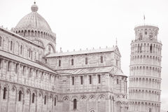 Leaning Tower and Facade of Cathedral Church in Pisa; Italy Royalty Free Stock Images