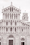 Leaning Tower and Facade of Cathedral Church in Pisa; Italy Stock Photography