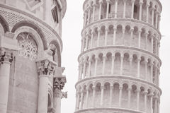 Leaning Tower and Facade of Cathedral Church in Pisa; Italy Royalty Free Stock Photography