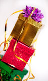Leaning tower of gifts Royalty Free Stock Images