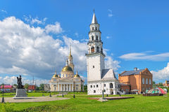 Leaning Tower of Nevyansk and Transfiguration Cathedral in Nevyansk, Russia Royalty Free Stock Image