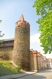Leaning tower in Paczkow silesian city of towers,  Royalty Free Stock Photography