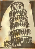 Leaning Tower Of Pisa. Vintage style illustration of the Leaning Tower Of Pisa vector illustration