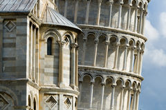 Leaning Tower of Pisa. Detail of the famous Leaning Tower of Pisa falling skyline stock photography
