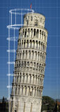 Leaning tower of Pisa. With a clear blue sky, with a blueprint overlay royalty free stock photography