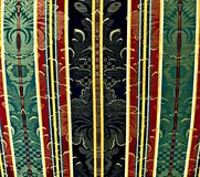 Upholstery with motif pattern, red, green, and black colors stock photo