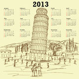 Leaning tower of pisa 2013 vintage calendar Stock Photography