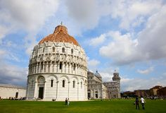 Leaning Tower of Pisa. Pisa Cathedral and Cherubs Royalty Free Stock Photos