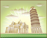 Leaning Tower of Pisa. Landscape with Leaning Tower of Pisa and the Piazza dei Miracoli church illustration in original style vector illustration