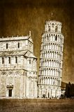 Leaning Tower of Pisa. Vintage Leaning Tower of Pisa, Italy Stock Image