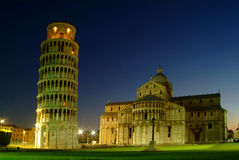 Leaning Tower of Pisa. Night photograph of the Leaning Tower of Pisa and Cathedral Stock Photography