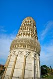 Leaning Tower of Pisa. Low angle view of Leaning Tower of Pisa with blue sky background, Tuscany, Italy Stock Image