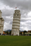 Leaning Tower of Pisa. Against a cloudy sky Royalty Free Stock Images