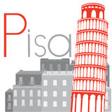 Leaning Tower of Pisa on the background of city, vector illustra Royalty Free Stock Photos