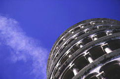 The Leaning Tower of Pisa from Below. A very angular depiction of the Leaning Tower of Pisa, showing more of the texture of the tower than the fact that it leans Stock Photos