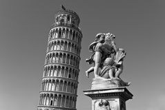 Leaning Tower of Pisa in black and white Stock Image