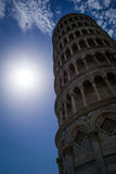 Leaning tower of Pisa. Bottom view. Royalty Free Stock Photography