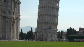 Crowd of Tourists Around the Leaning Tower of Pisa