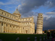 Leaning Tower of Pisa and Cathedral. The famous Leaning Tower and the Pisa Cathedral Royalty Free Stock Photo