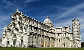 Leaning Tower of Pisa and Cathedral Stock Images