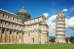 Leaning tower of Pisa and the cathedral Duomo in Pisa, Tuscany Italy. Leaning tower of Pisa and the cathedral Duomo in Pisa, Tuscany, Italy Stock Photo