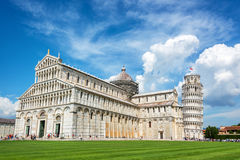 Leaning tower of Pisa and the cathedral in Pisa, Tuscany, Italy. Leaning tower of Pisa and the cathedral Duomo in Pisa, Tuscany, Italy Stock Image