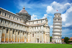 Leaning tower of Pisa and the cathedral in Pisa, Tuscany, Italy. Leaning tower of Pisa and the cathedral Duomo in Pisa, Tuscany, Italy Stock Images