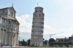 The Leaning Tower of Pisa Closer view @ Italy. It is one of the UNESCO World Heritage site. It is the campanile or freestanding bell tower of the Cathedral of stock image