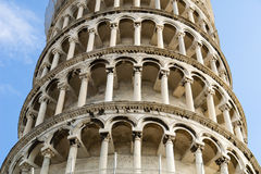 Leaning Tower of Pisa. Detail. The Leaning Tower of Pisa (Italian: Torre pendente di Pisa) or simply The Tower of Pisa (La Torre di Pisa) is the campanile, or royalty free stock photo