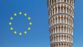 Leaning tower of Pisa with European Union next to it. royalty free stock photography