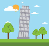 Leaning tower of pisa flat style. Design vector illustration stock Royalty Free Stock Photo