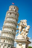 Leaning tower of Pisa and the fountain with angels, Tuscany Italy. Leaning tower of Pisa and the fountain with angels, Tuscany, Italy Stock Photos