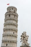 Leaning Tower of Pisa and the fountain of cherubs Royalty Free Stock Photography