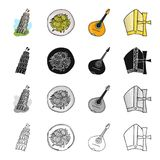 The Leaning Tower of Pisa, Italian pasta, mandolin, an attribute of Catholicism. Italy set collection icons in cartoon Royalty Free Stock Photo
