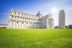 The leaning tower of Pisa, Italy. Pisa, Italy - April 10, 2015: The Leaning Tower of Pisa or simply the Tower of Pisa is the campanile, or freestanding bell Royalty Free Stock Images