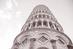 Leaning Tower of Pisa; Italy. In Black and White Sepia Tone Royalty Free Stock Photos