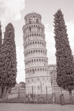 Leaning Tower of Pisa, Italy. In Black and White Sepia Tone Royalty Free Stock Photography