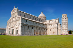 Leaning Tower of Pisa, Italy and the Cathedral. Shown with the cathedral to illustrate the angle of tilt Stock Images