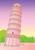 Leaning Tower of Pisa Italy. illustration  Royalty Free Stock Photos