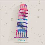 Leaning Tower of Pisa made of triangles Stock Images