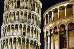 Leaning Tower of Pisa at night. Royalty Free Stock Image