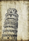 Leaning Tower of Pisa on old paper Royalty Free Stock Photos