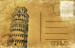 Leaning Tower of Pisa postcard Royalty Free Stock Images